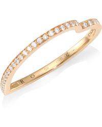 Repossi Antifer Diamond Pavé 18k Rose Gold Heart Ring - Metallic