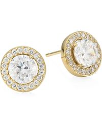 Adriana Orsini - 18k Goldplated Sterling Silver Framed Round Crystal Stud Earrings - Lyst
