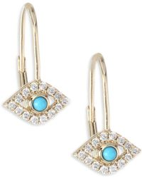 Sydney Evan | Evil Eye Diamond & Turquoise Earrings | Lyst