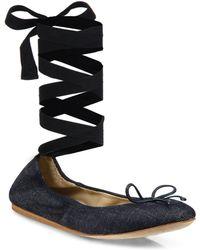 Saks Fifth Avenue | Denim Ankle-wrap Ballet Flats | Lyst