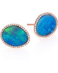 Meira T - Opal, Diamond & 14k Rose Gold Stud Earrings - Lyst