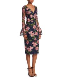 David Meister - Floral Embroidered Bell-sleeve Sheath Dress - Lyst