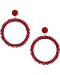 Kenneth Jay Lane Woven Threaded Circle Post Drop Earrings - Red