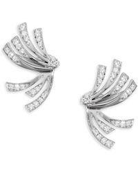 Hueb - Wave Diamond & 18k White Gold Stud & Ear Jacket Set - Lyst