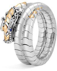 John Hardy - Legends Naga Blue Sapphire, 18k Gold & Silver Double Coil Bracelet - Lyst