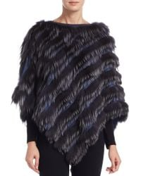 Saks Fifth Avenue - Fox Fur Poncho - Lyst