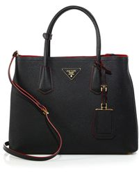 Prada - Saffiano Cuir Medium Double Bag - Lyst
