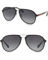 Prada - Linea Rossa 58mm Aviator Sunglasses - Lyst