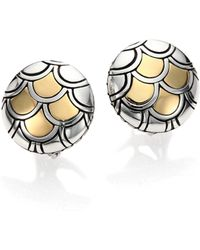 John Hardy | Naga 18k Yellow Gold & Sterling Silver Button Earrings | Lyst