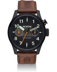 Nixon - Safari Deluxe Leather Strap Watch - Lyst