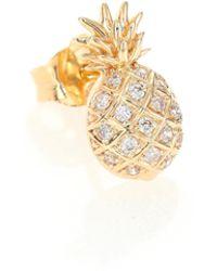 Sydney Evan - Diamond & 14k Yellow Gold Pineapple Single Stud Earring - Lyst