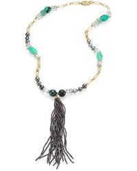 Jordan Alexander - 2mm Grey Pearl, Diamond, Chrysoprase, Prasiolite, Emerald & 18k Yellow Gold Tassel Necklace - Lyst