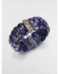 M.c.l  Matthew Campbell Laurenza - Multicolored Sapphire & Lapis Beaded Stretchbracelet - Lyst