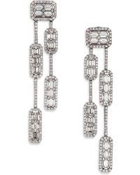 Roberto Coin - Baguette Deco Diamond & 18k White Gold Double-strand Drop Earrings - Lyst