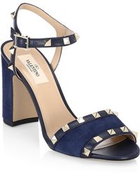 Valentino - Rockstud Leather Ankle-strap Sandals - Lyst