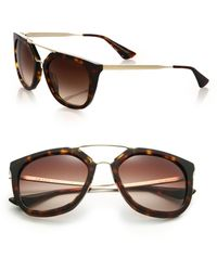 Prada - All Designer Products - Double-bar 54mm Pilot Sunglasses - Lyst