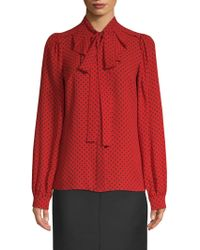 Michael Kors - Silk Polka Dot Blouse - Lyst