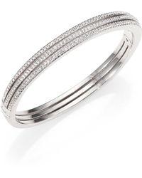 Adriana Orsini - Pave Crystal Three-row Bangle Bracelet/silvertone - Lyst
