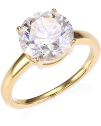 Adriana Orsini - 18k Goldplated Sterling Silver Round Crystal Solitaire Ring - Lyst