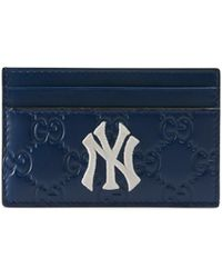 aece3987d199d Gucci - Men s Card Case With Ny Yankeestm Patch - Royal Blue Ivory - Lyst