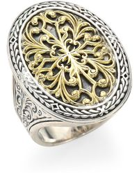 Konstantino - Gold Classics Sterling Silver & 18k Yellow Gold Oval Filigree Ring - Lyst