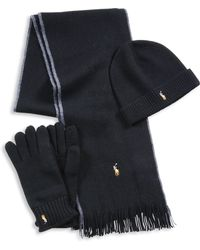 Polo Ralph Lauren - Three-piece Merino Wool Scarf, Beanie & Gloves Set - Lyst