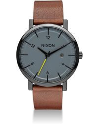 Nixon - Rollo Leather Strap Watch - Lyst