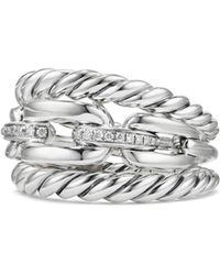 David Yurman - Wellesley Link Pavé Diamonds & Sterling Silver Three-row Ring - Lyst