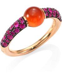 Pomellato - M'ama Non M'ama Pink Sapphire, Hessonite Garnet & 18k Rose Gold Ring - Lyst
