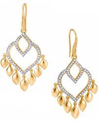 John Hardy - Legends Naga Diamond Pave, 18k Gold Chandelier Earrings - Lyst