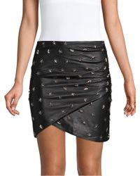 Alice + Olivia - 'fidela' Star Stud Mock Wrap Leather Skirt - Lyst