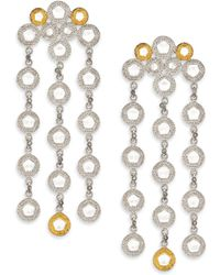Coomi - Opera Diamond, Crystal, 20k Yellow Gold & Sterling Silver Chandelier Earrings - Lyst