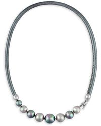 Majorica - 9-12mm Nuage And Grey Pearl And Leather Graduated Necklace - Lyst