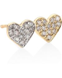 Sydney Evan - Small Pave Double Heart Diamond & 14k Yellow Gold Single Earring Stud - Lyst
