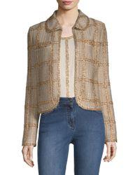 St. John - Checkered Tweed Jacket - Lyst