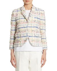 Thom Browne - Classic Madras Pouf Tweed Jacket - Lyst