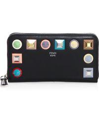 Fendi - Rainbow Stud Leather Wallet - Lyst