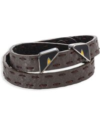 Fendi - Monster Eyes Leather Wrap Around Bracelet - Lyst