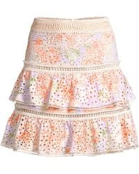 Alice + Olivia - Floral Embroidered Ruffle Skirt - Lyst