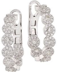Hearts On Fire - Fulfillment 18k White Gold, Round Diamond & Crystal Hoop Earrings - Lyst