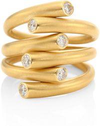 Carelle - Whirl Diamond & 18k Yellow Gold Ring - Yellow Gold - Lyst