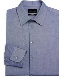 Armani - Modern Fit Chambray Dress Shirt - Lyst