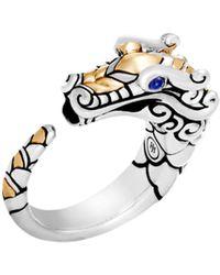 John Hardy - Legends Naga 18k Yellow Gold, Silver & Blue Sapphire Dragon Ring - Lyst