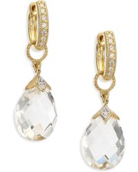 Jude Frances - Lisse White Topaz & 18k Yellow Gold Pear Briolette Earring Charms - Lyst