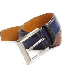 Saks Fifth Avenue - Two Tone Burnished Leather Belt - Lyst