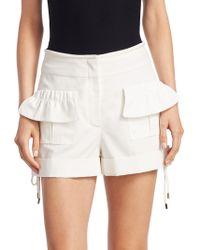 Carven | Hi-rise Poplin Ruffle Shorts | Lyst
