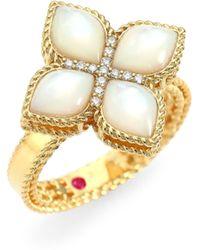 Roberto Coin - 18k Yellow Gold Venetian Princess Mother - Of - Pearl & Diamond Ring - Lyst