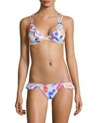 d8e1dbba342d3 Pilyq Spa White Snakeskin Tie Side Bikini Bottom in Gray - Lyst