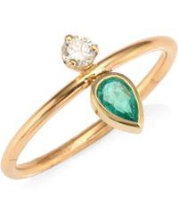 Zoe Chicco - Emarald, Diamond & 14k Yellow Gold Ring - Lyst