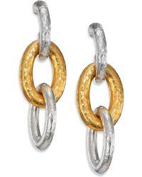 Gurhan - Hoopla 24k Yellow Gold & Sterling Silver Galahad Long Drop Hoop Earrings - Lyst